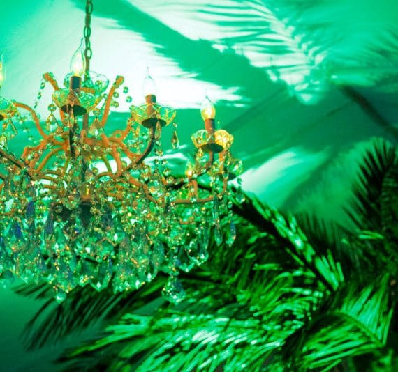 Carnival 21st birthday party planned - chandelier lighting