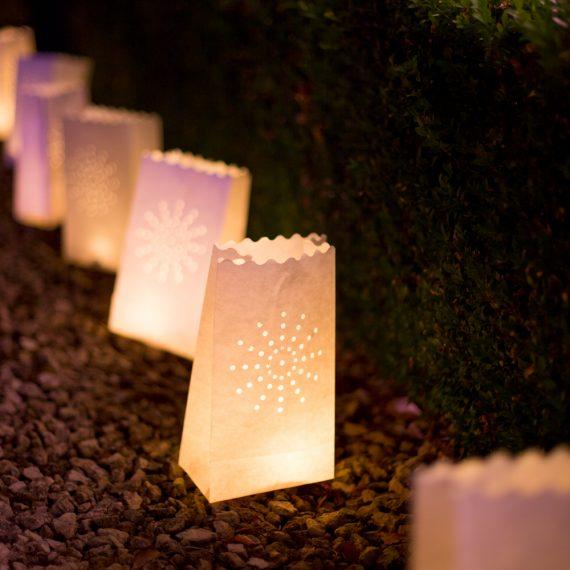 easy paperbag lanterns dress a pathway
