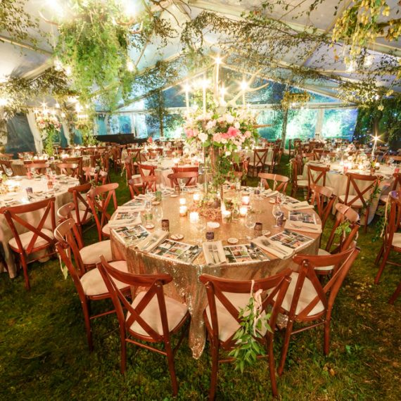 Enchanted Forest party planned - dining with cross-back chairs