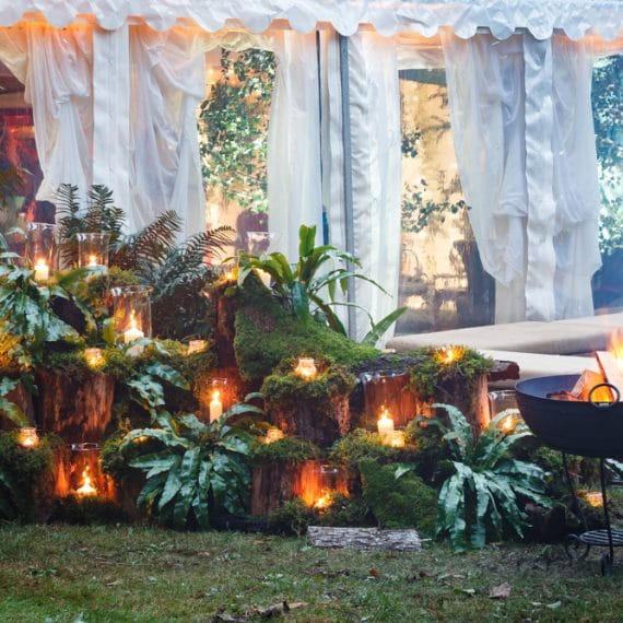 Enchanted Forest party planned - fire bowl and storm lanterns