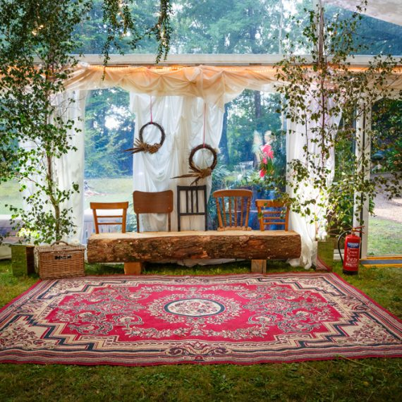 Enchanted Forest party planned - unusual seating and persian rug