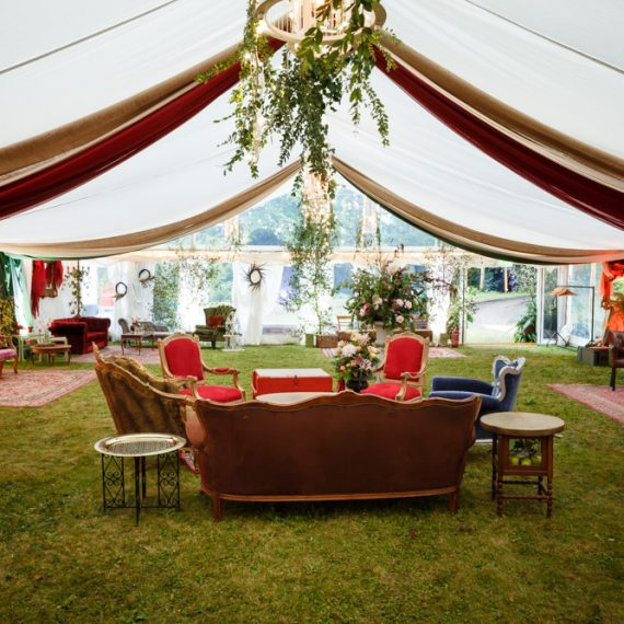 Enchanted Forest party planned - eclectic furniture and draping