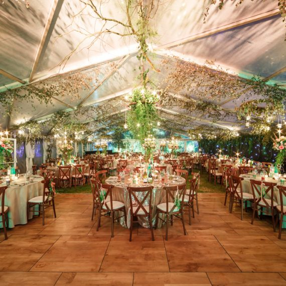 Enchanted Forest party planned - amazing dining marquee with cross-back chairs