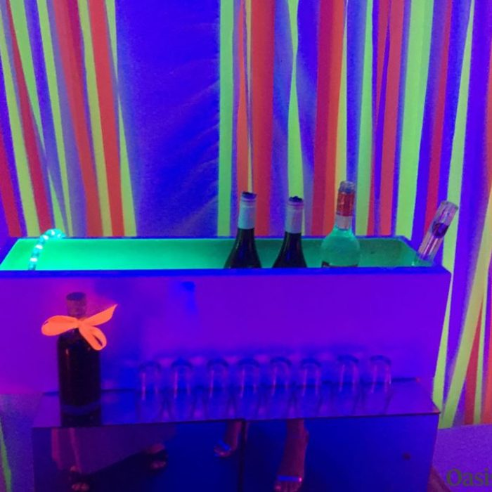 neon party drinks cooler bar for 1980 event management