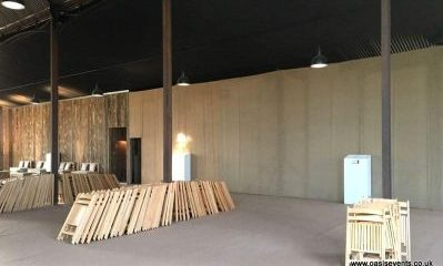 Barn Dressed for a Conference - hessian partition wall