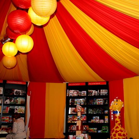 Marquee dressing for Cheltenham Festivals - circus theme