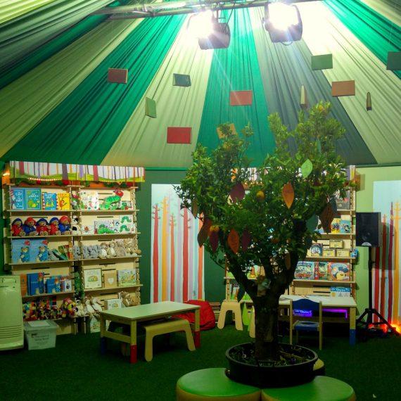Marquee dressing for Cheltenham Festivals - green woodland theme