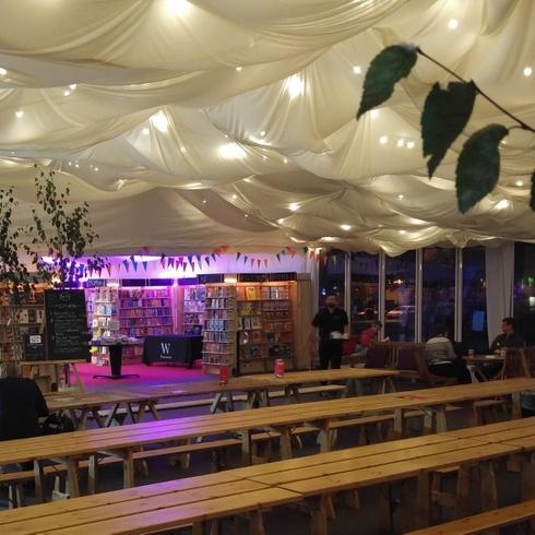 Marquee dressing for Cheltenham Festivals - bespoke dressing with festoon lighting