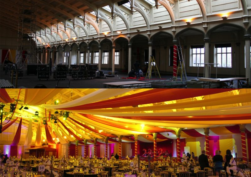 party planners Cotswolds showing before and after - Christmas party party planning near Gloucestershire