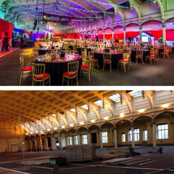Bristol Passenger shed - Bespoke design for corporate christmas party - before and after