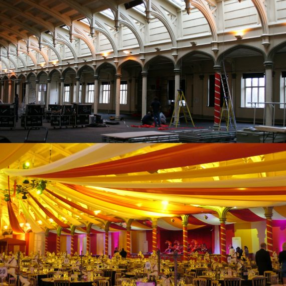 Bristol Passenger shed - Bespoke design for corporate christmas party - circus theme