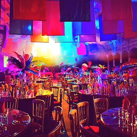 Bristol Passenger shed - Bespoke design for corporate christmas party - Carnival theme party