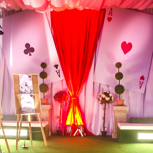 Bristol Passenger shed - Bespoke design for corporate christmas party - Alice in wonderland