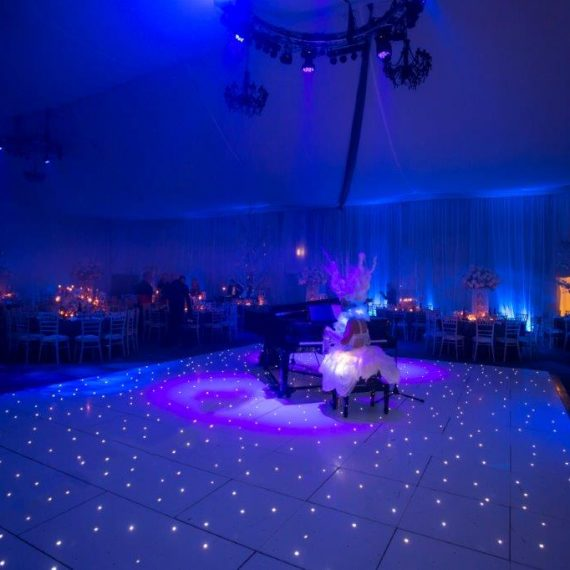 White LED dancefloor with dinner entertainment