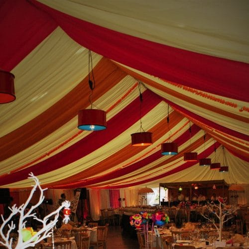 Sports Hall transformed with indoor marquee for school fundraising events