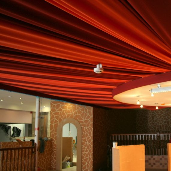 bespoke ceiling treatment to restaurant - fabric ceiling