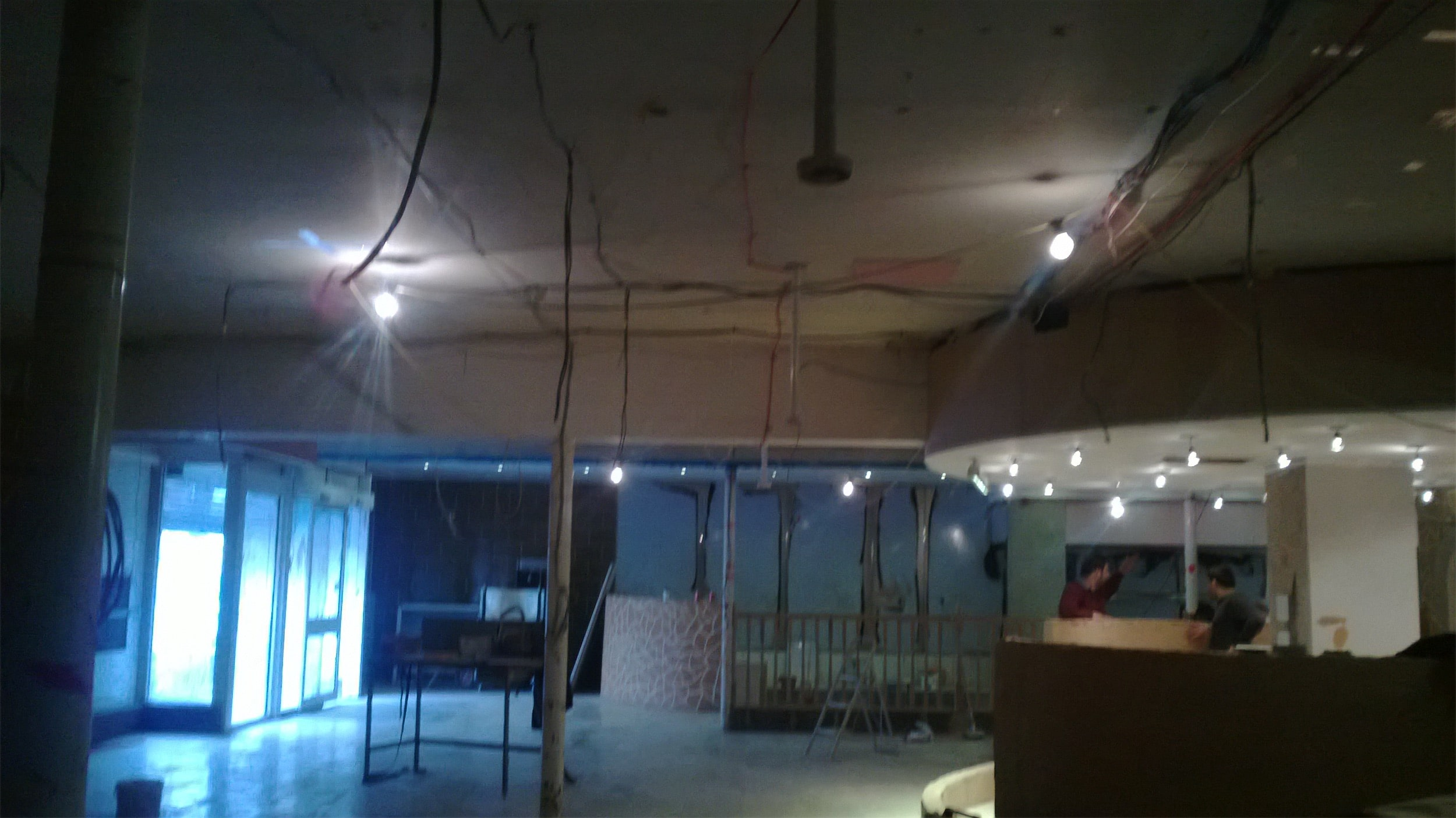 Draped finish for a restaurant ceiling - before