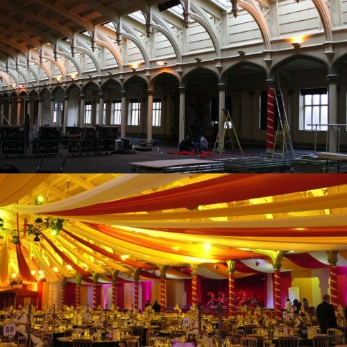 Bristol passenger shed corporate christmas party - bespoke design for circus theme party before and after