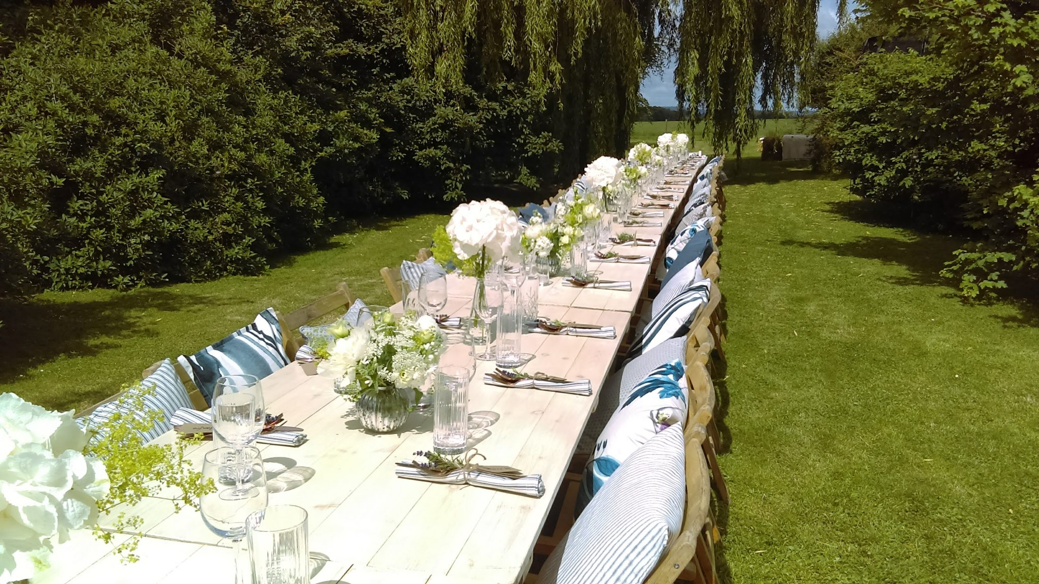 Wooden trestle tables folding wooden chairs