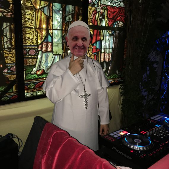 Cotswold party - DJ dressed as Pope Francis