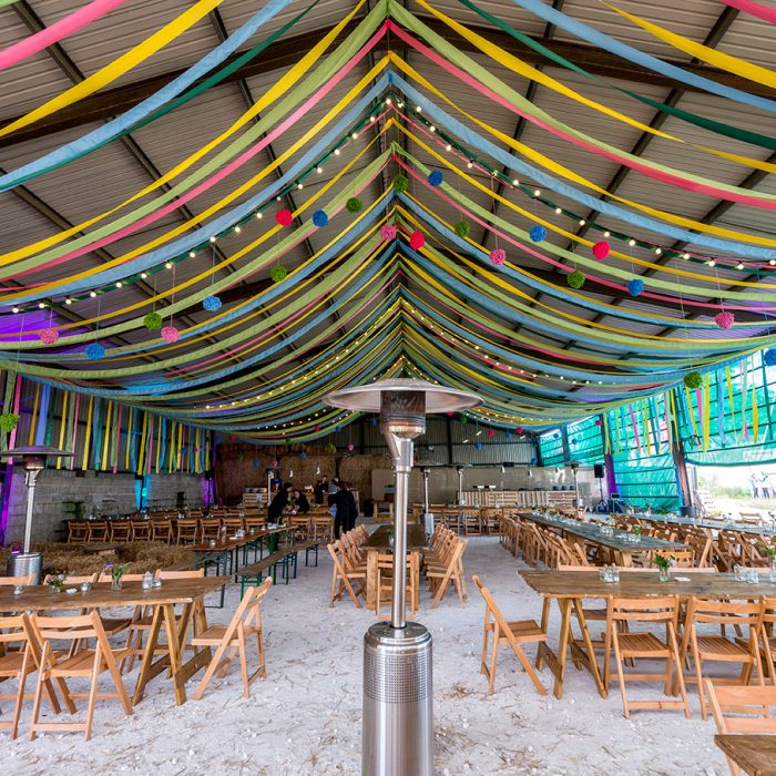 Tractor barn transformed with ribbon canopy