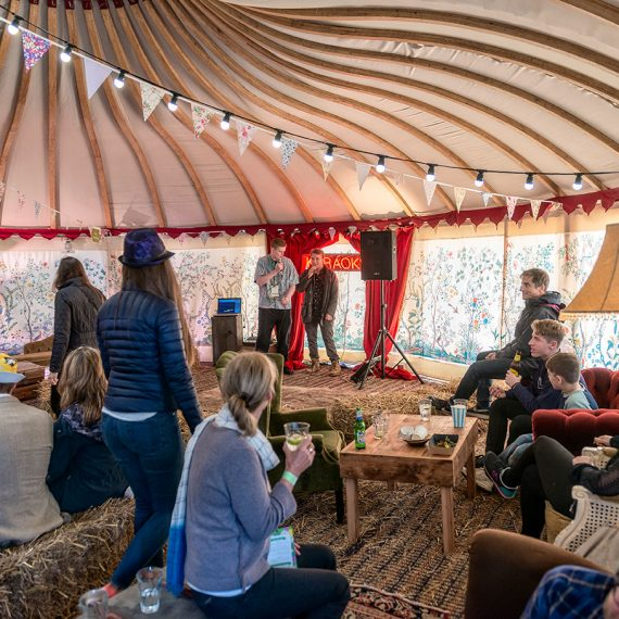 A chill out tent, bar and karaoke spot