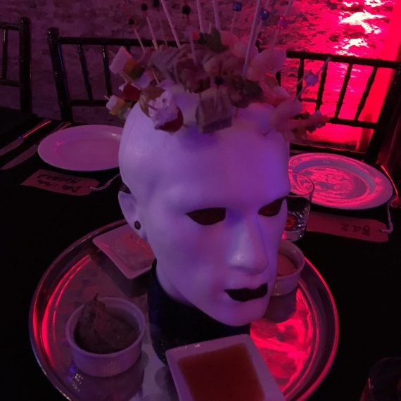 Clever idea for Punk theme party - polystyrene head with mohican starter