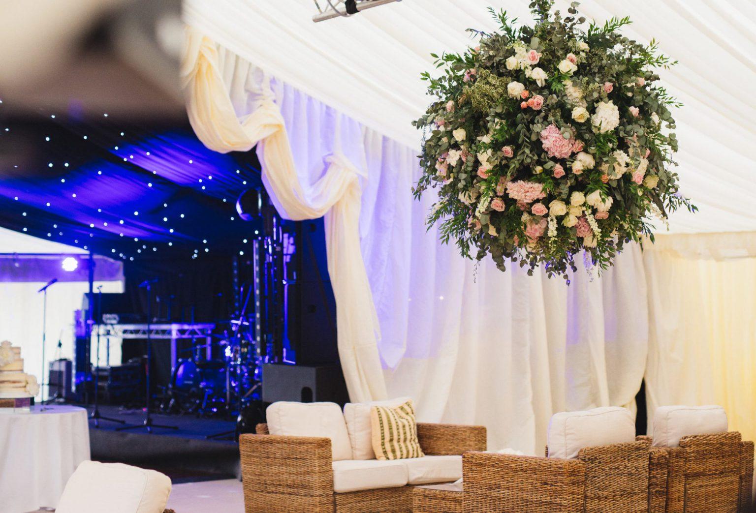 Wedding marquee reveal curtain