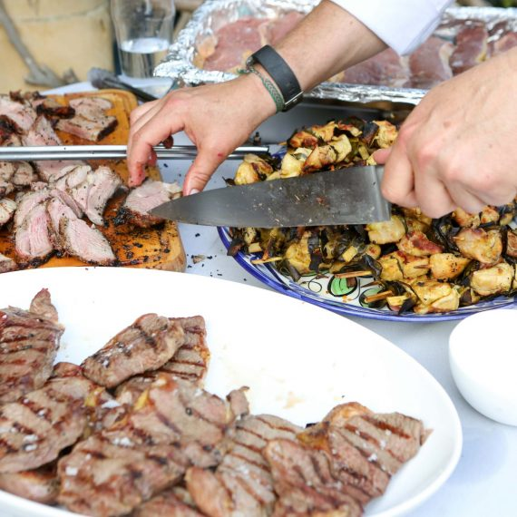 Grilled meat platters for summer party