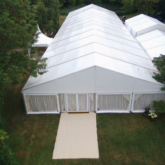 wedding marquee showing main marquee catering area and arrival area