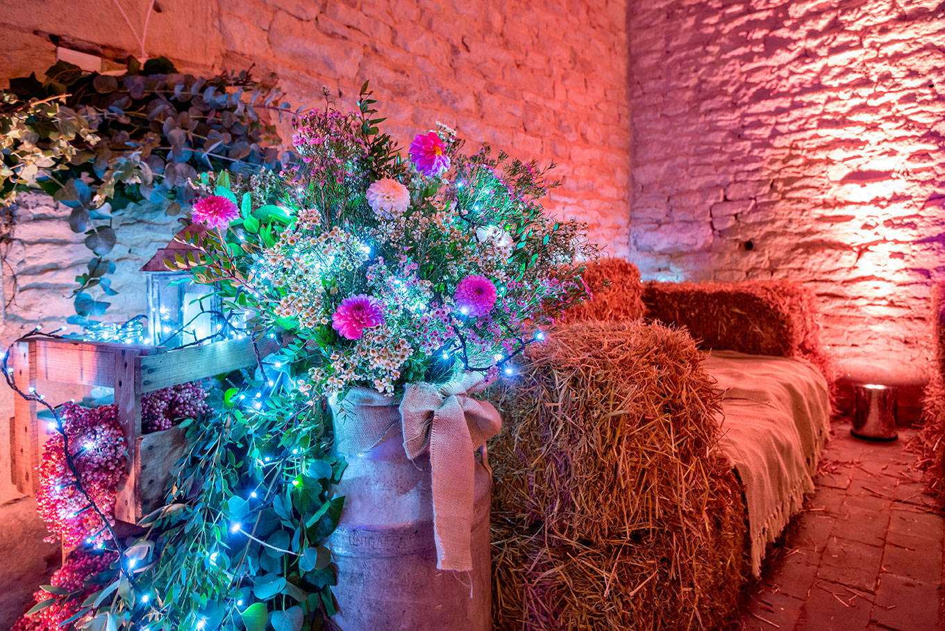 Flowers lights and straw bales