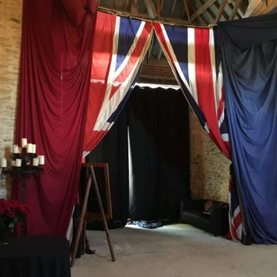 Union jack draped for punk themed party