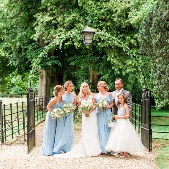 the bridal party at the church