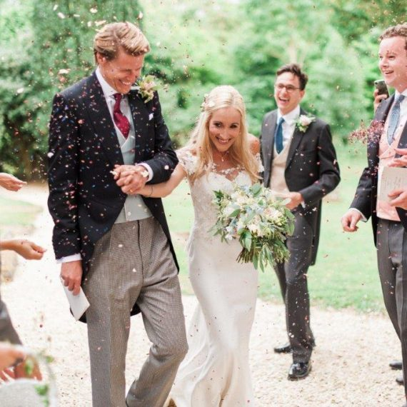 Natural confetti at cotswold wedding
