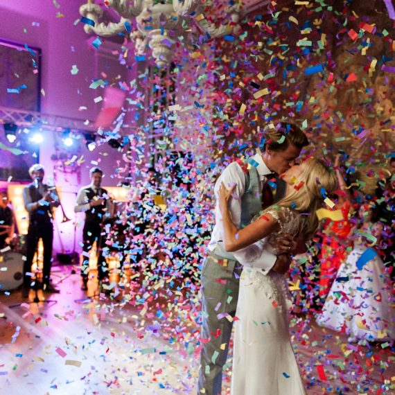 Elegant Cotswold Wedding confetti shower