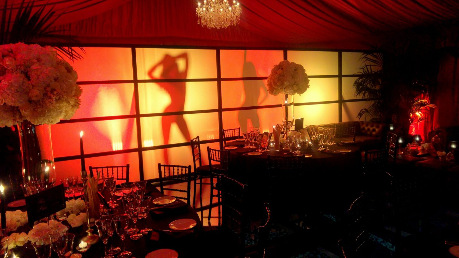 James Bond shadow dancing girls behind bespoke screen