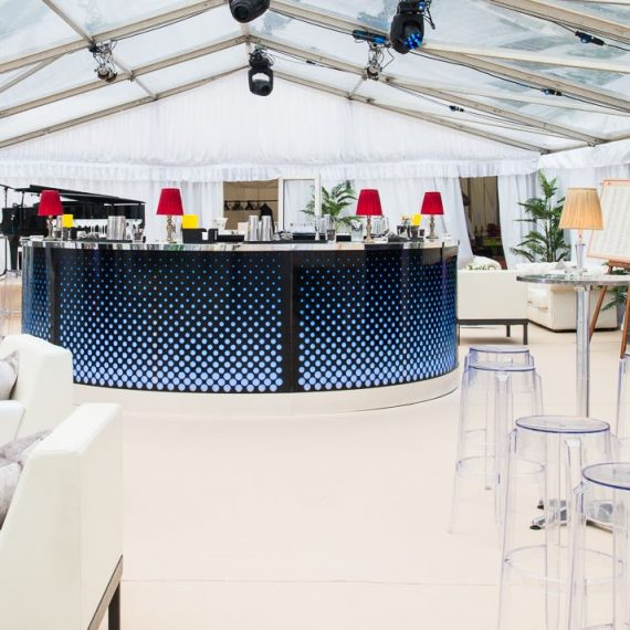 Illuminated Bar in Clear Roof Marquee