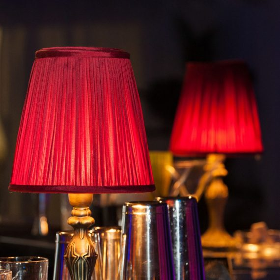 Pleated Red Lampshades