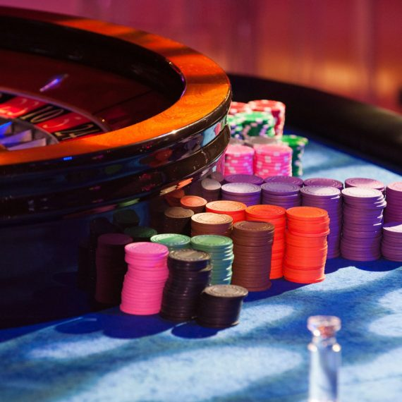 Casino Chips and Roulette Table