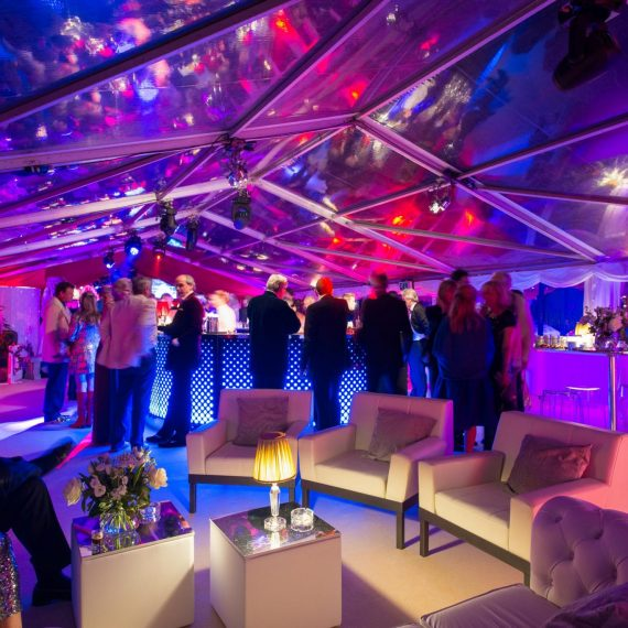 Beautiful lighting effect in clear-roofed marquee