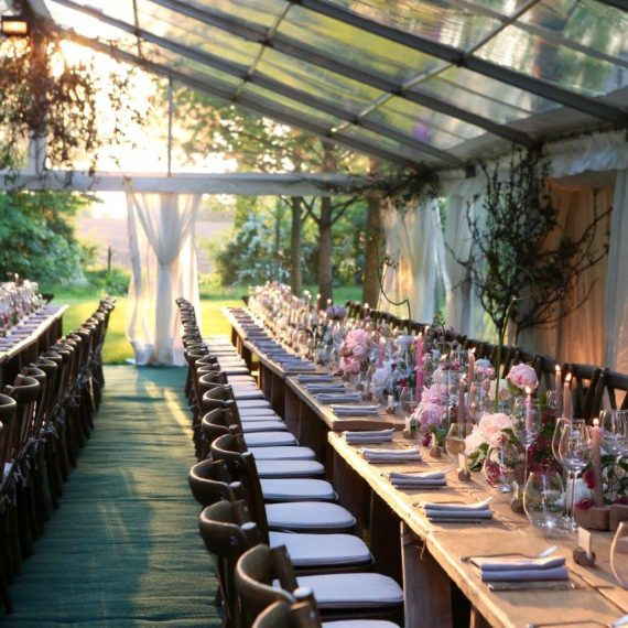 The setting sun washed the dining tent with light