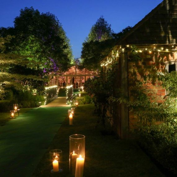 Candlelit pathway to dinner