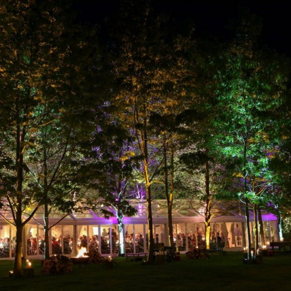 A clear marquee to show off the amazing garden at night