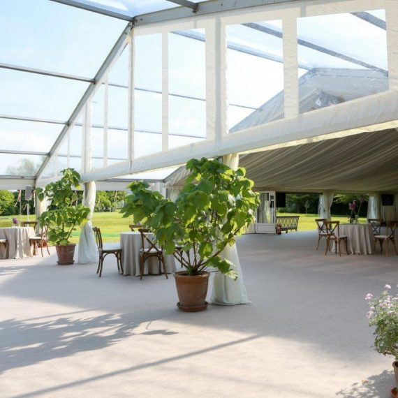 Clearspan marquee with clear roofs and level cassette floor