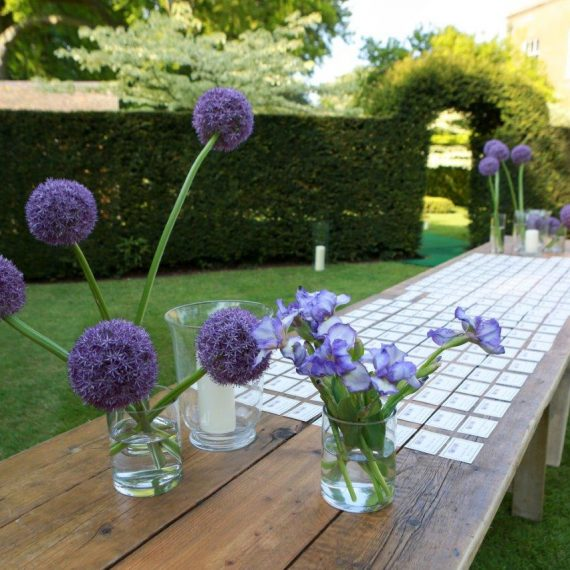 Aliums and placements to welcome guests