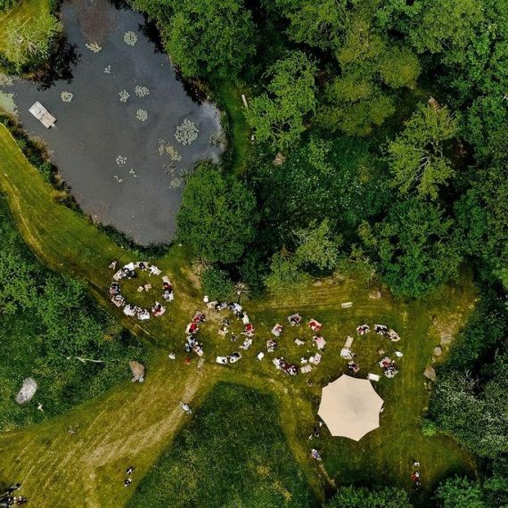 Mad Hatters picnic from the eye in the sky