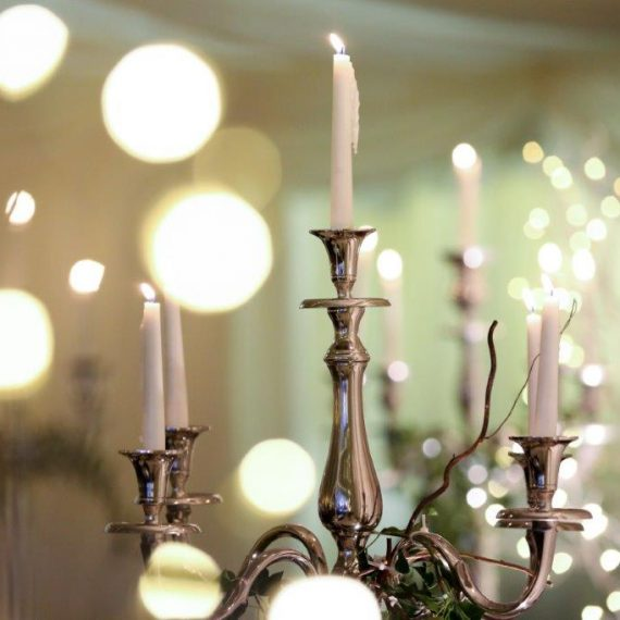 Candelabra in winter marquee