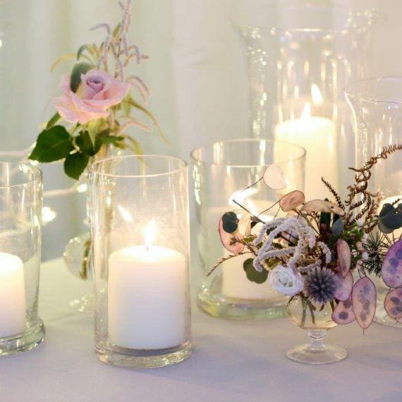 Pillar candles and delicate florals