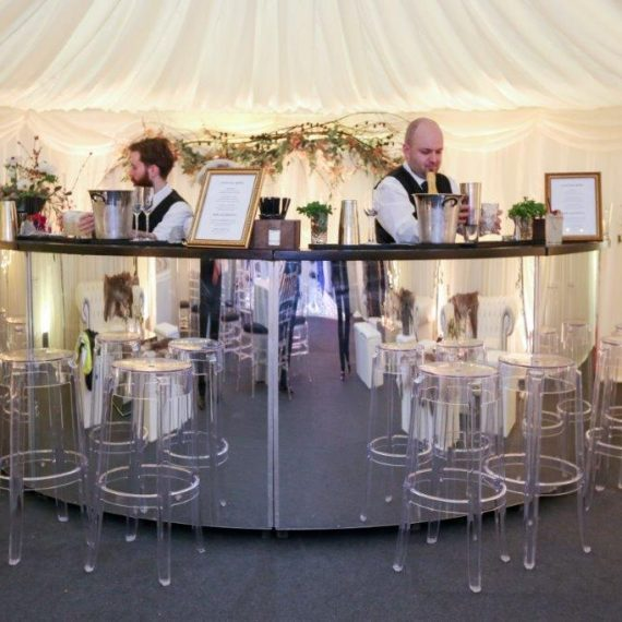 Mirrored bar ready for guests
